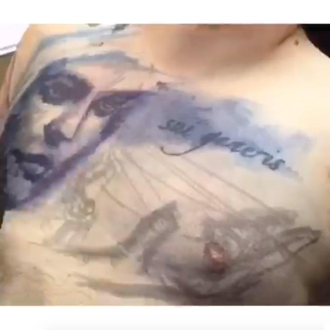The Light That Burns My Bondage Chest Tattoo by Megan Jean Morris